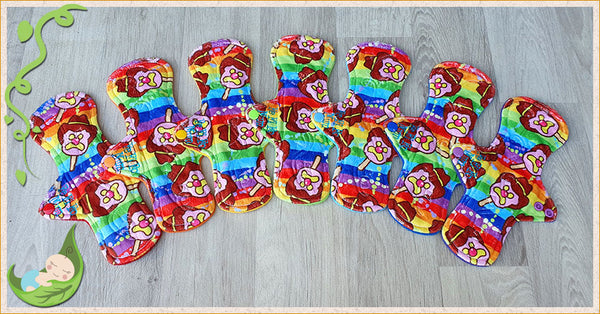 (P015) - 9 inch regular - 7 pack - topped with Rainbow BoB print Minky