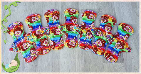 (P017) - 9 inch regular - 7 pack - topped with Rainbow BoB print Minky