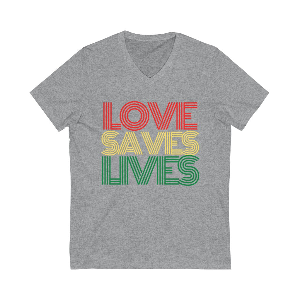 Love Saves Lives - Unisex Jersey Short Sleeve V-Neck Tee