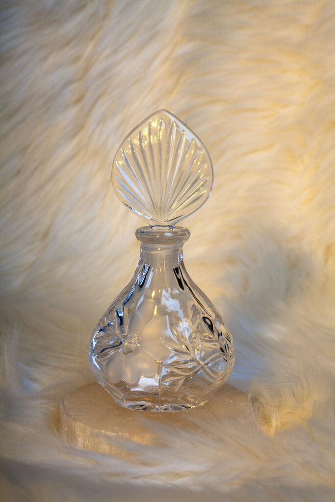 Crystal Floral Etched Perfume Bottle