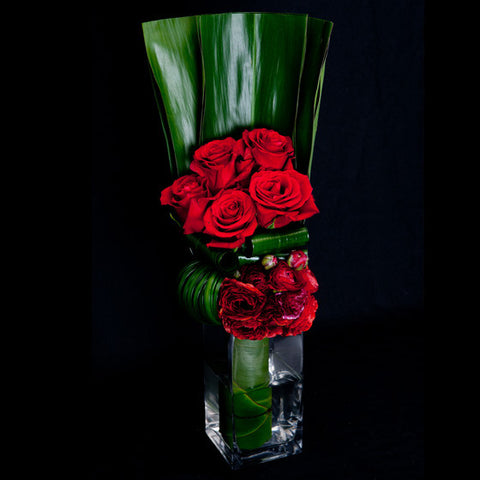 Sculptural Red Rose and Ranunculus Arrangement