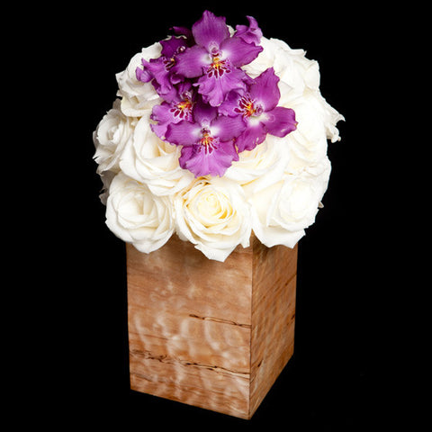 Hand-made Wooden Container with Orchids and Roses