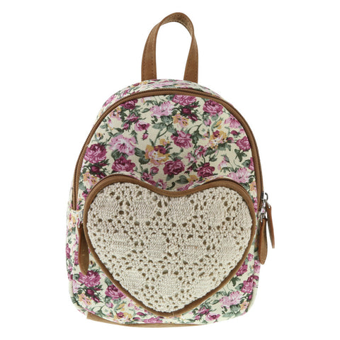 Girls' Heart Crochet Backpack