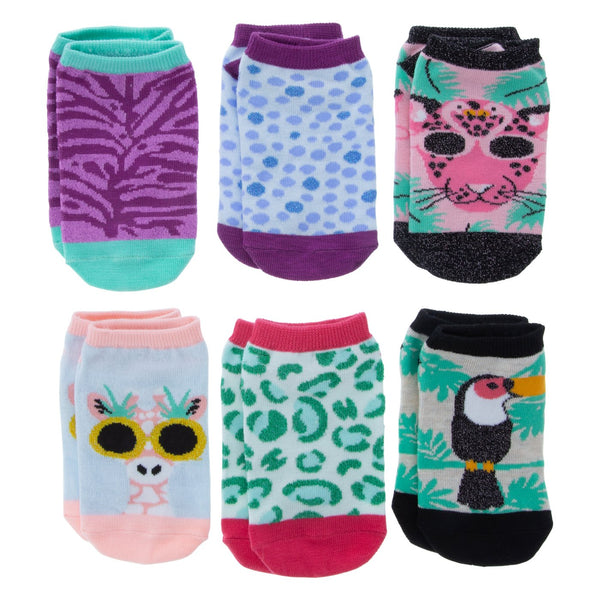 Girls  Jungle 6 Pack  Low  cut Socks