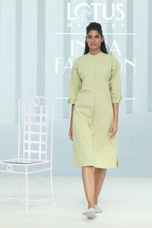 Khadi Kurta Dress with single side slit - Dhi