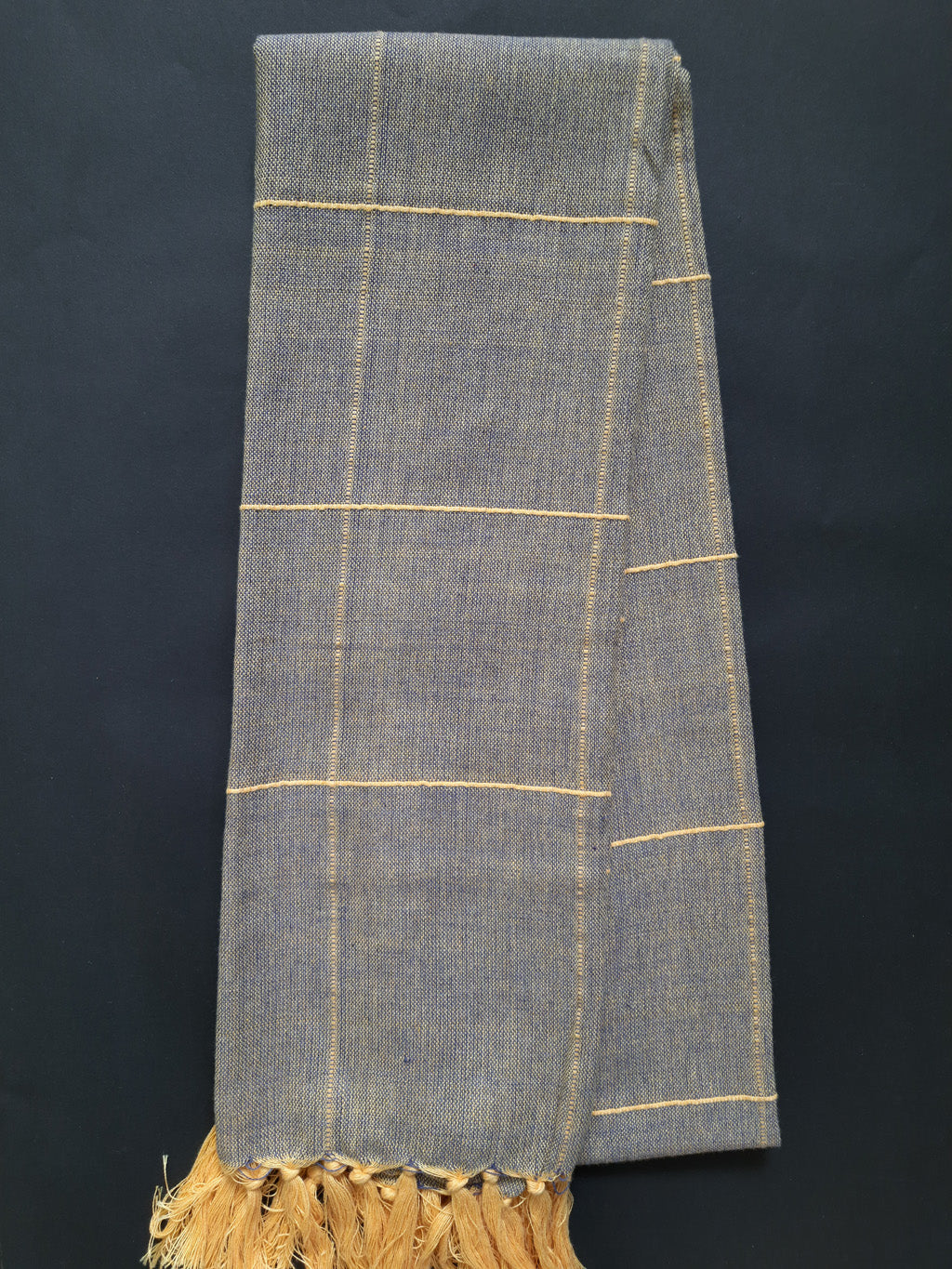Bekar Ash Handwoven scarf with yellow stripes - Dhi