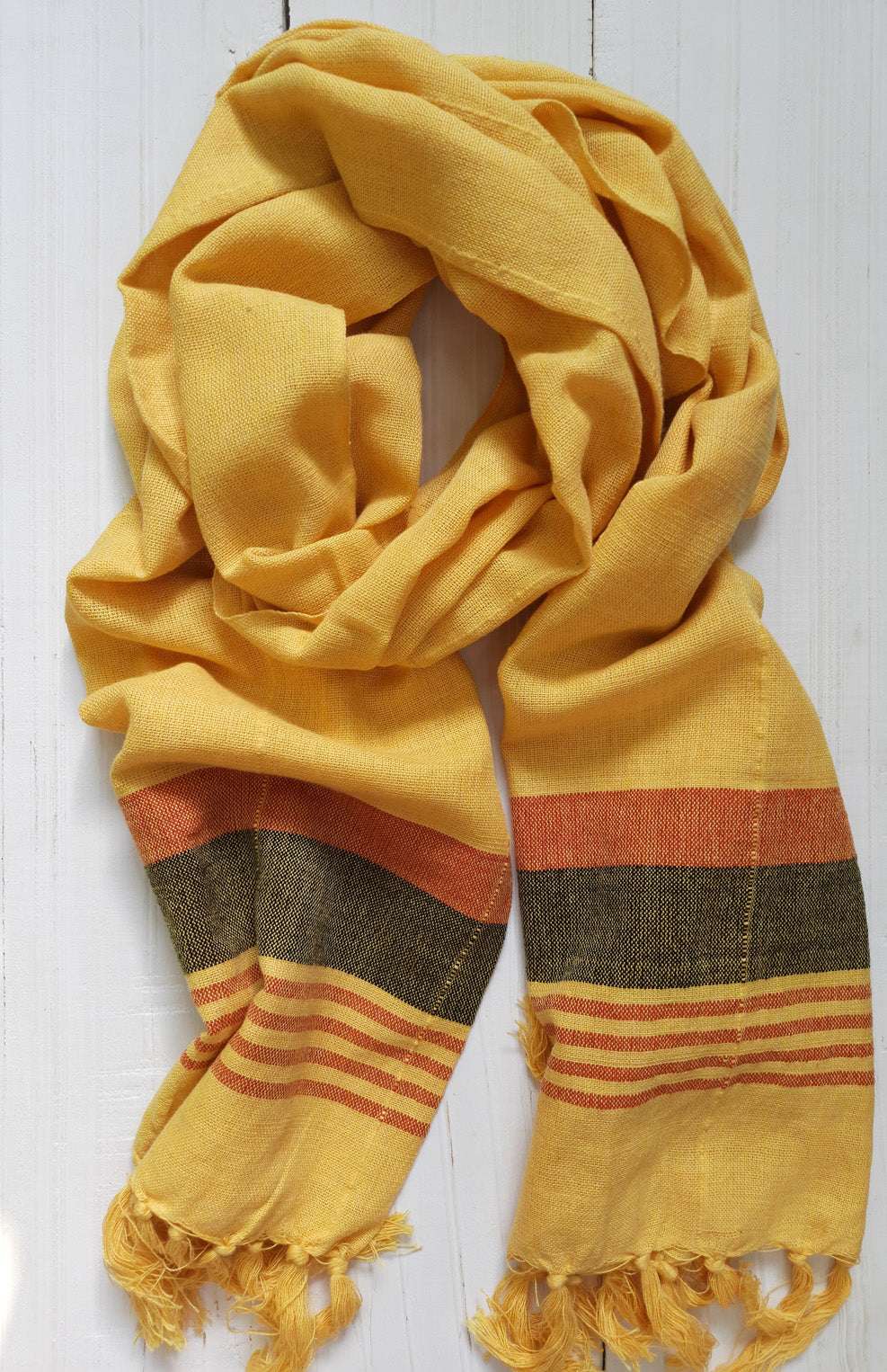 Bekar Yellow Handwoven scarf with Red Stripes - Dhi