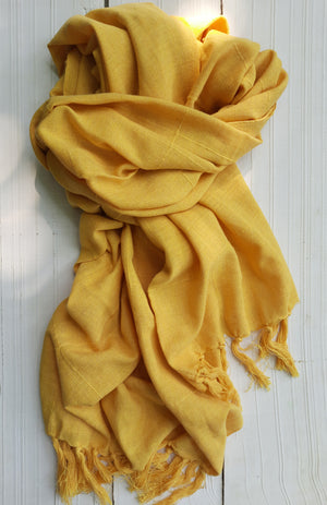 Bekar Amber Yellow Handwoven scarf - Dhi