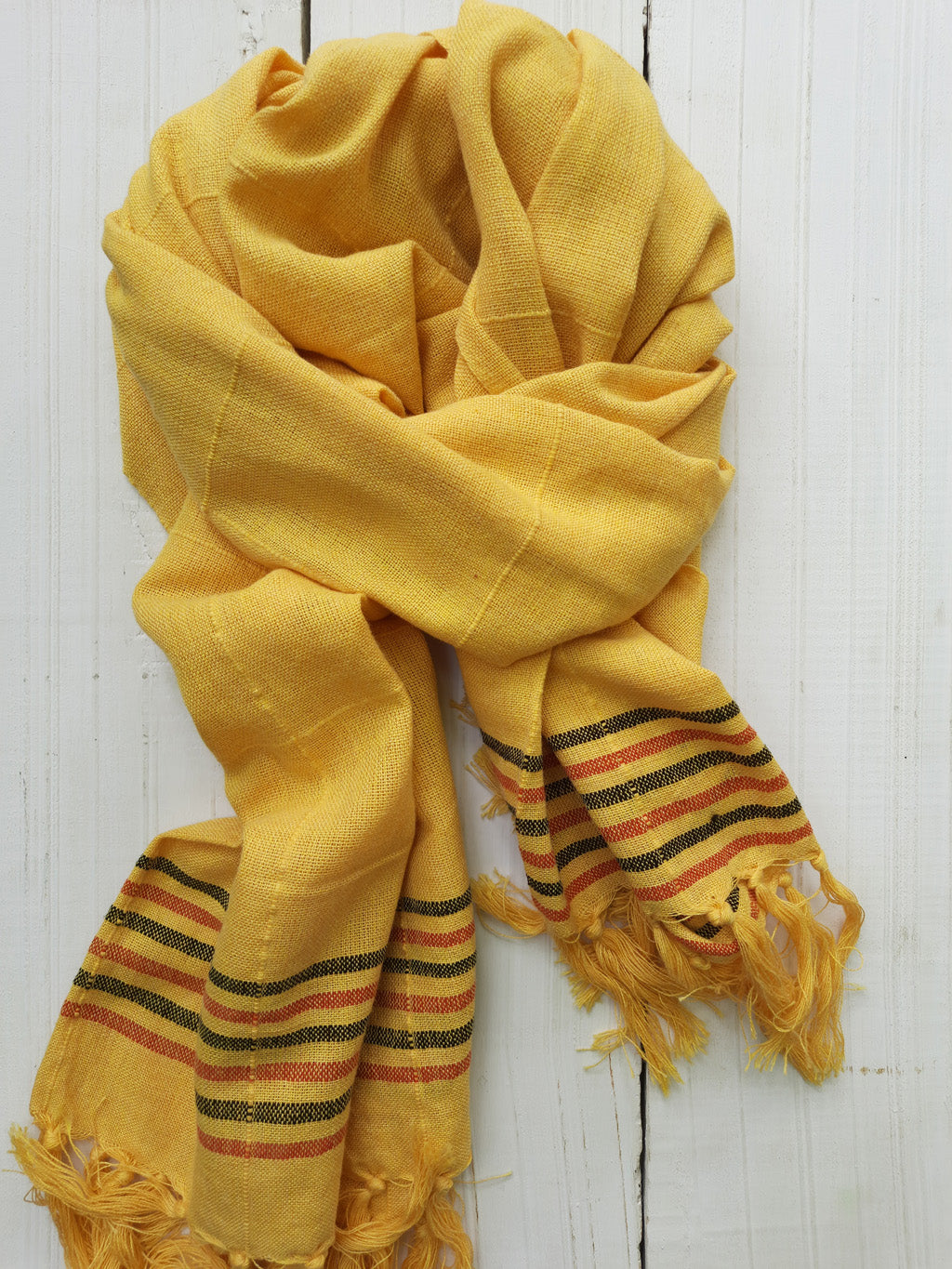 Bekar Honey Yellow Handwoven scarf with Black and red Stripes - Dhi