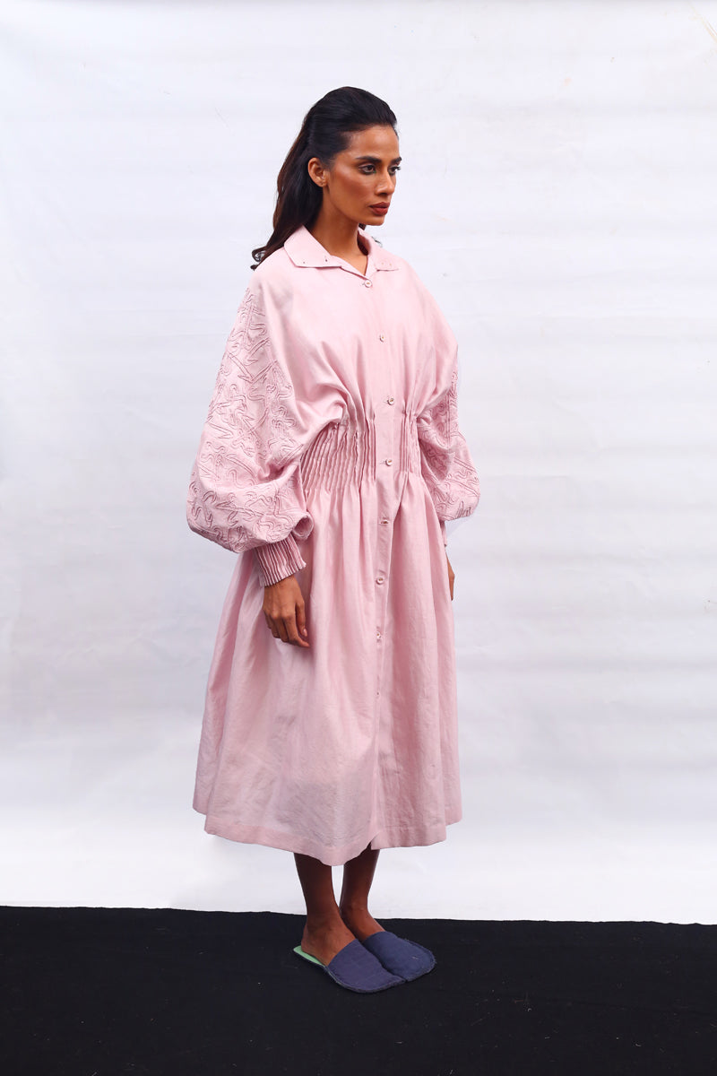 Hand Embroidered Blouson Sleeve Dress - Dhi