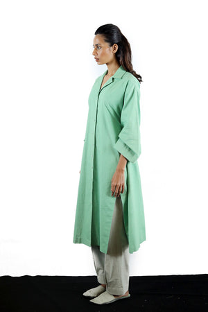 Cuban Collar Khadi Shirt Dress - Dhi