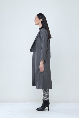 Charcoal Double Breasted Trench Coat - Dhi