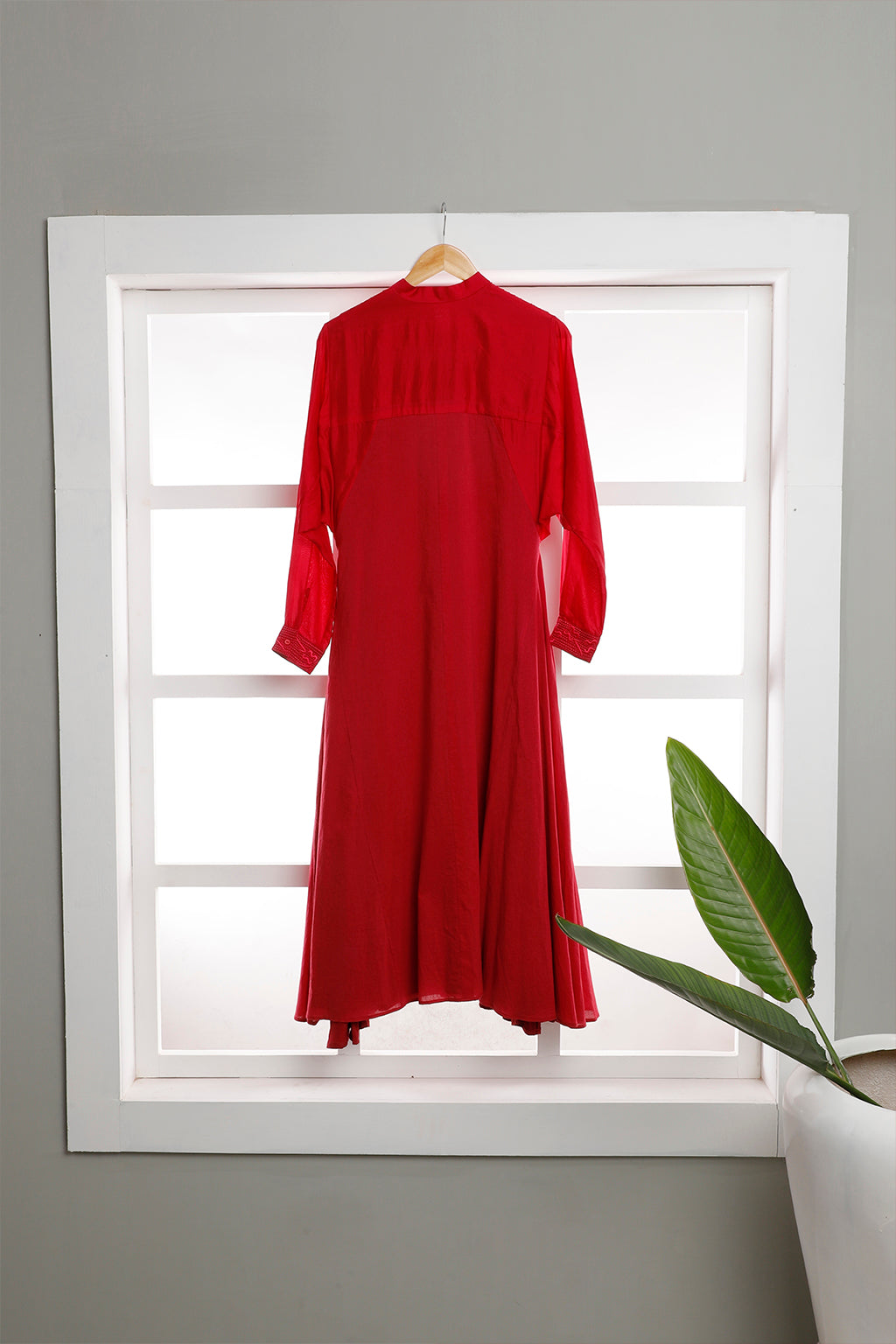 Mulmul Dress with Silk Long Sleeves - Dhi
