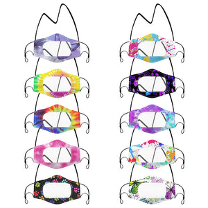 10 PACK- Clear Window Mask (Mixed Pattern with Landyard)