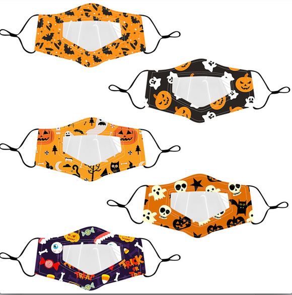 *Children* 5 PACK Halloween Anti-Fog Clear Face Masks (Mixed Patterns)