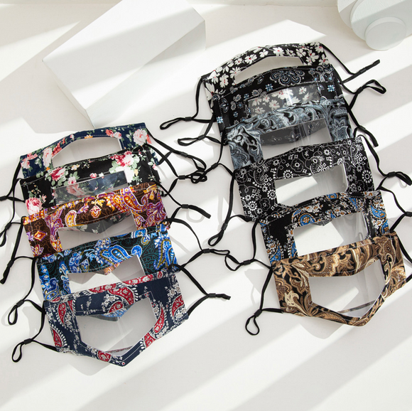 NEWEST 10 PACK- Mixed Pattern Clear Window Mask