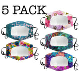 5 PACK Clear Window Mixed Pattern Clear Mask (Flower)