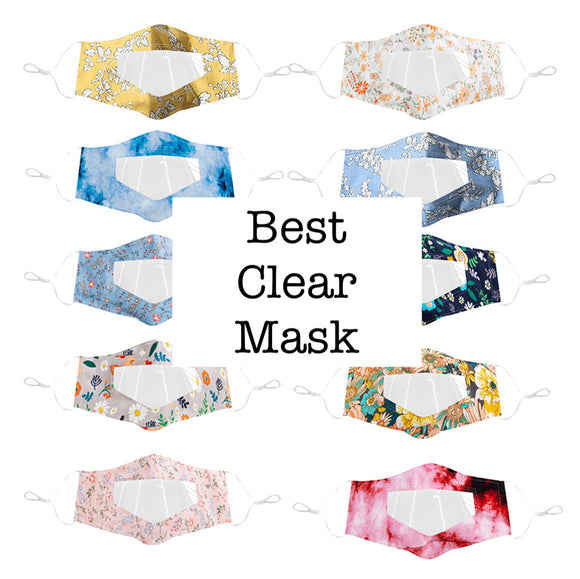 Best 10 PACK Mixed Pattern Clear Mask (Floral Patterns)