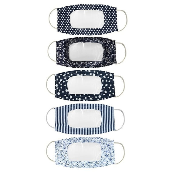 5 PACK Clear Window Mixed Pattern Clear Mask (Navy)