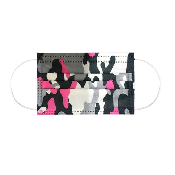 Adult Disposable Masks in Pink Camouflage(50 pieces)
