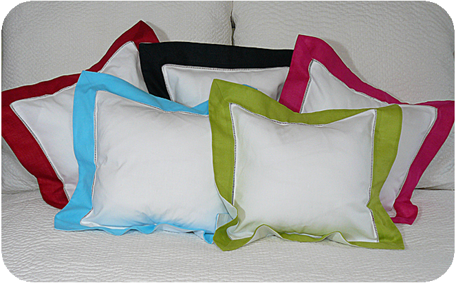 "Bright Border Pillow Sham (12"") in Red"