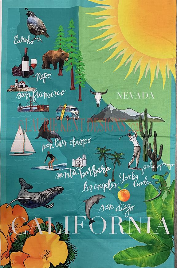 California Map Panel by Laurie Kent Designs