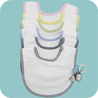 Gingham Trim Infant Bib in Light Blue