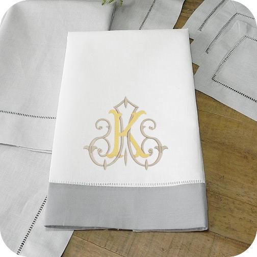Guest Towel with Grey Hemstitch Border