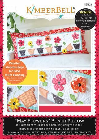 May Flowers Bench Pillow - Embroidery CD
