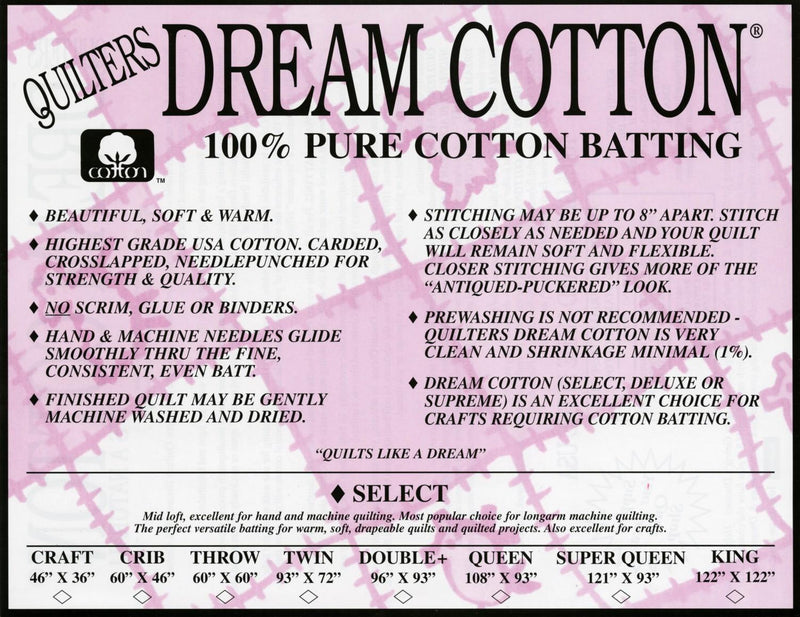 Quilter's Dream Cotton Natural Batting Select Loft -Queen