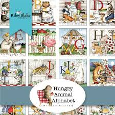 "Hungry Animal Alphabet 10"" Squares"