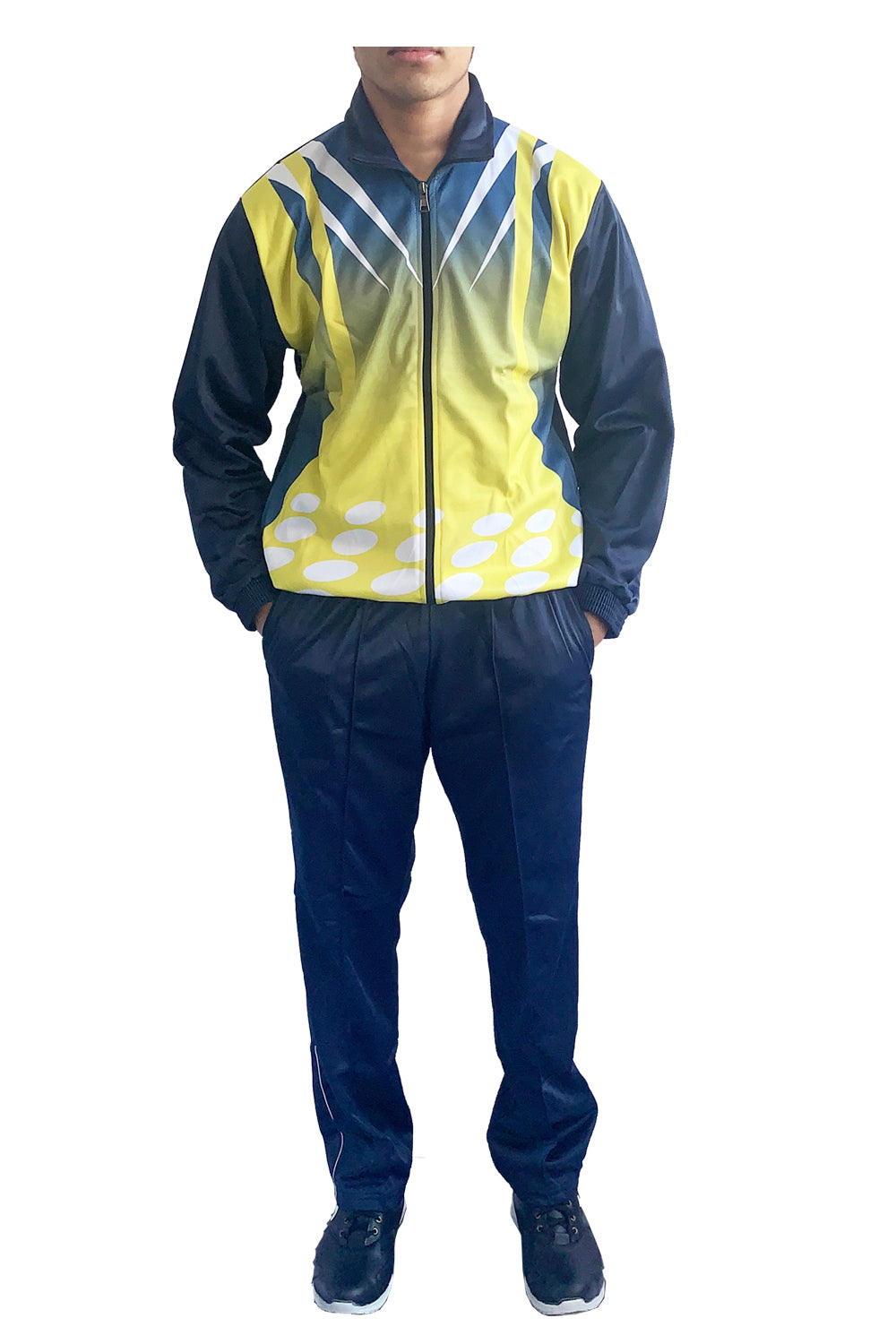 Sublimation Regular Fit Super Poly Men's Tracksuit for Sports | Training | Gym | Winterwear (Yellow Design) - Bestfit Sportswear