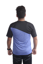 Load image into Gallery viewer, Poly Grindle Round Neck Royalblue T-shirt with Black Pattern - Bestfit Sportswear