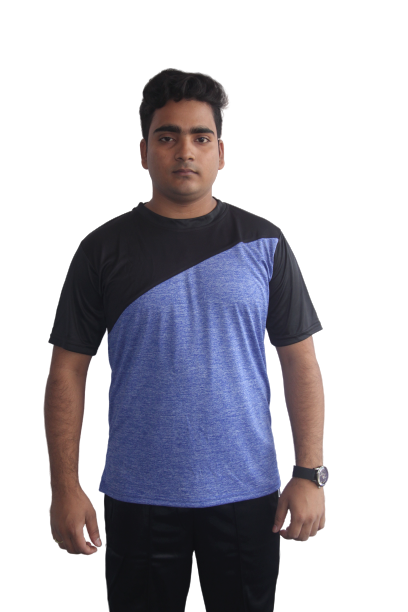 Poly Grindle Round Neck Royalblue T-shirt with Black Pattern - Bestfit Sportswear