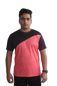 Poly Grindle Round Neck T-shirt Red with Black Pattern - Bestfit Sportswear