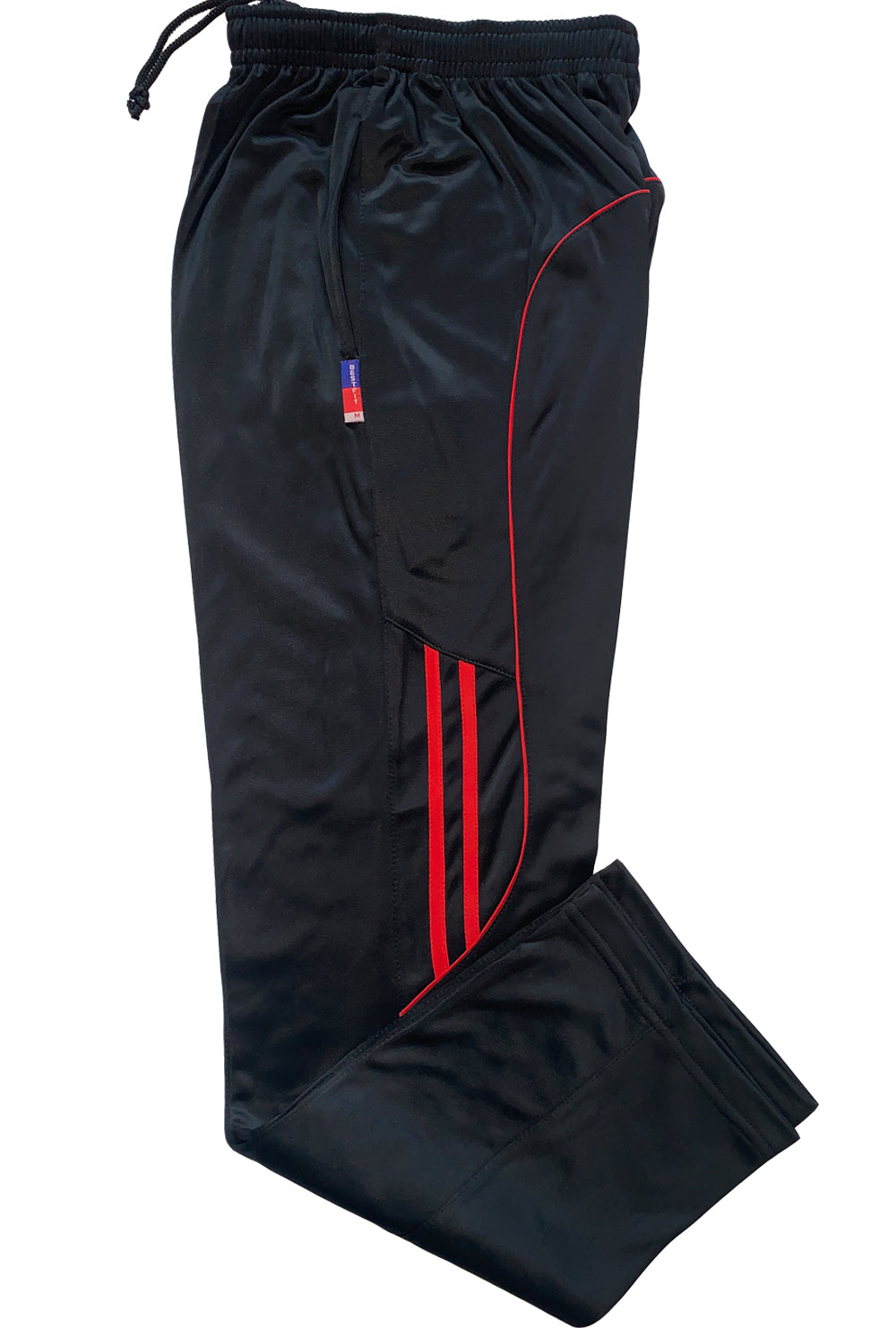 Black Mens Track Pants with Red Stripes Super Poly Lower  for Sports & Nightwear - Bestfit Sportswear