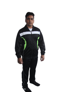 Black with White Pattern Regular fit Super Poly Sports Tracksuit - Bestfit Sportswear