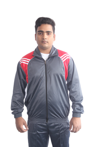 Dark Grey with Red Pattern Regular fit Super Poly Sports Tracksuit - Bestfit Sportswear
