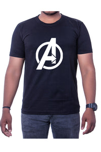 Cotton Black Marvel Avengers Mens Printed Round Neck Short Sleeves T-Shirt - Bestfit Sportswear
