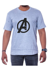 Cotton Light Grey Marvel Avengers Mens Printed Round Neck Short Sleeves T-Shirt - Bestfit Sportswear