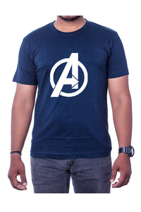 Cotton Navy Blue Marvel Avengers Mens Printed Round Neck Short Sleeves T-Shirt - Bestfit Sportswear