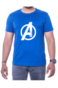Cotton Royal Blue Marvel Avengers Mens Printed Round Neck Short Sleeves T-Shirt - Bestfit Sportswear