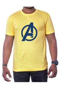 Cotton Yellow Marvel Avengers Mens Printed Round Neck Short Sleeves T-Shirt - Bestfit Sportswear