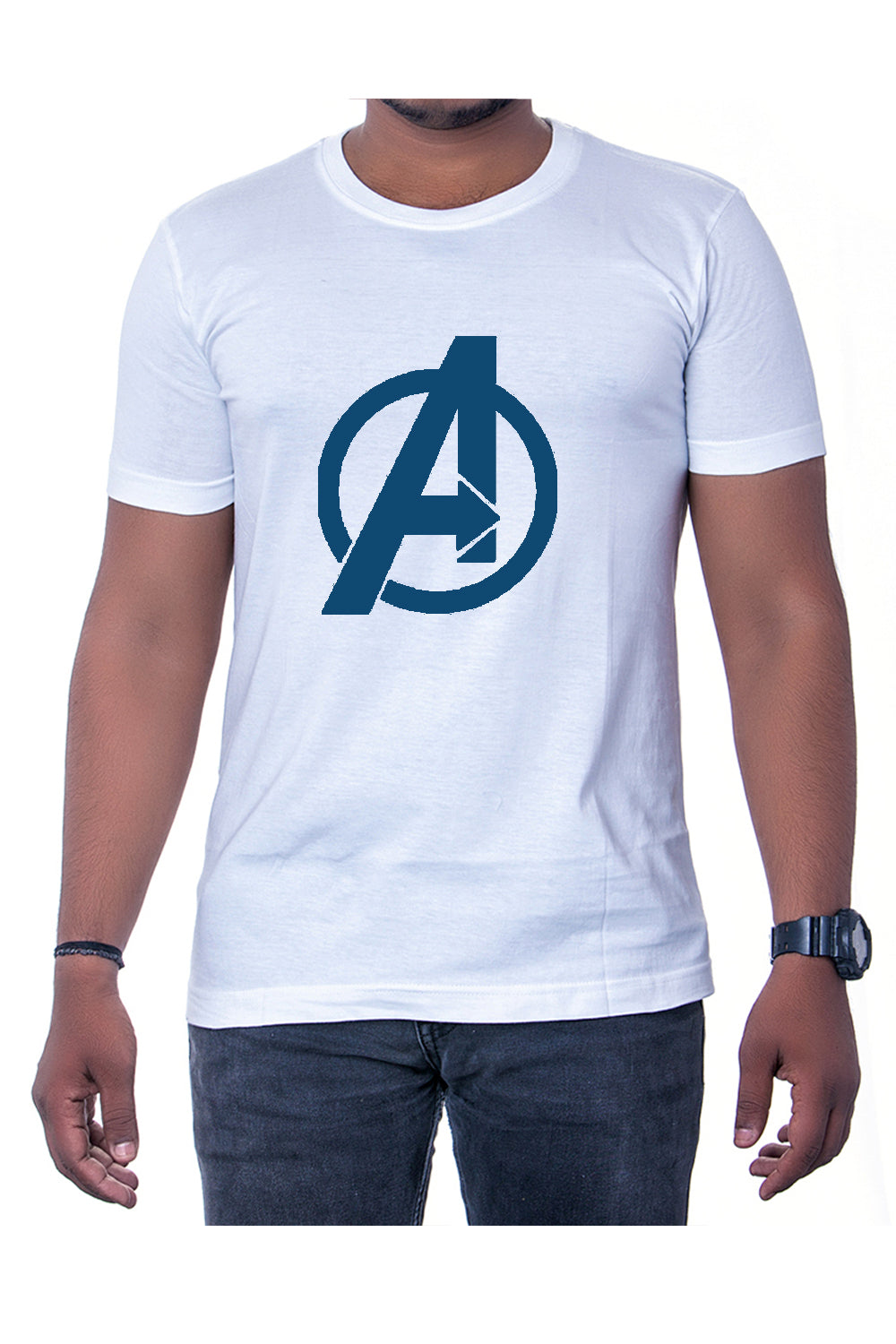 Cotton White Marvel Avengers Mens Printed Round Neck Short Sleeves T-Shirt - Bestfit Sportswear