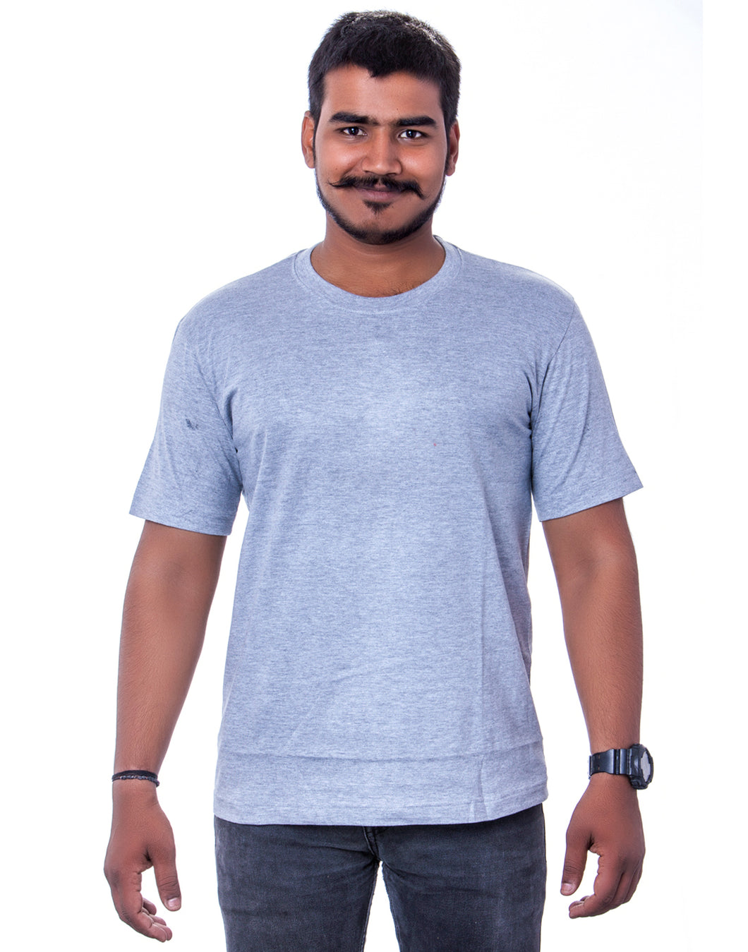 100% Cotton Grey melange Round Neck T-Shirts - Bestfit Sportswear