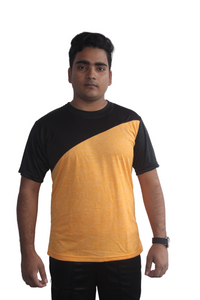 Poly Grindle Round Neck Yellow T-shirt with Black Pattern - Bestfit Sportswear