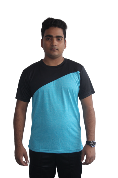 Poly Grindle Round Neck T-shirt Sky blue with Black Pattern - Bestfit Sportswear