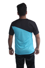 Load image into Gallery viewer, Poly Grindle Round Neck T-shirt Sky blue with Black Pattern - Bestfit Sportswear