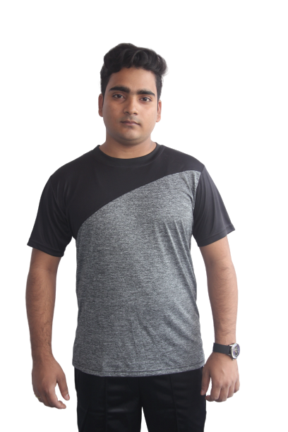 Poly Grindle Round Neck T-shirt Grey with Black Pattern - Bestfit Sportswear