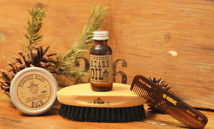 The Mighty Beard Set  -  Oil,Balm,Comb & Brush